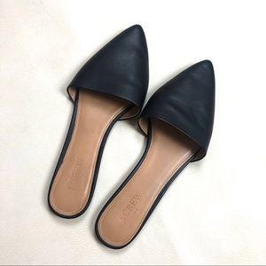 J. Crew Black Leather Pointy Flat Mule Slides